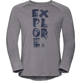 Odlo BL Concord T-shirt manches longues à col ras-du-cou Homme, grey melange-explore print ss19